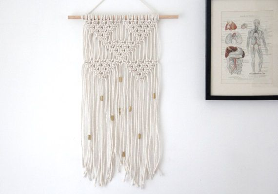 Medium Macrame Wall Hanging with Gold detail / Boho by tentvintage