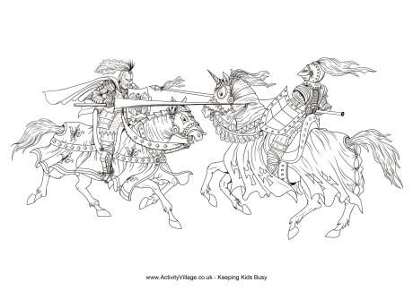 Jousting colouring page | Printables | Pinterest | Medieval, Adult ...