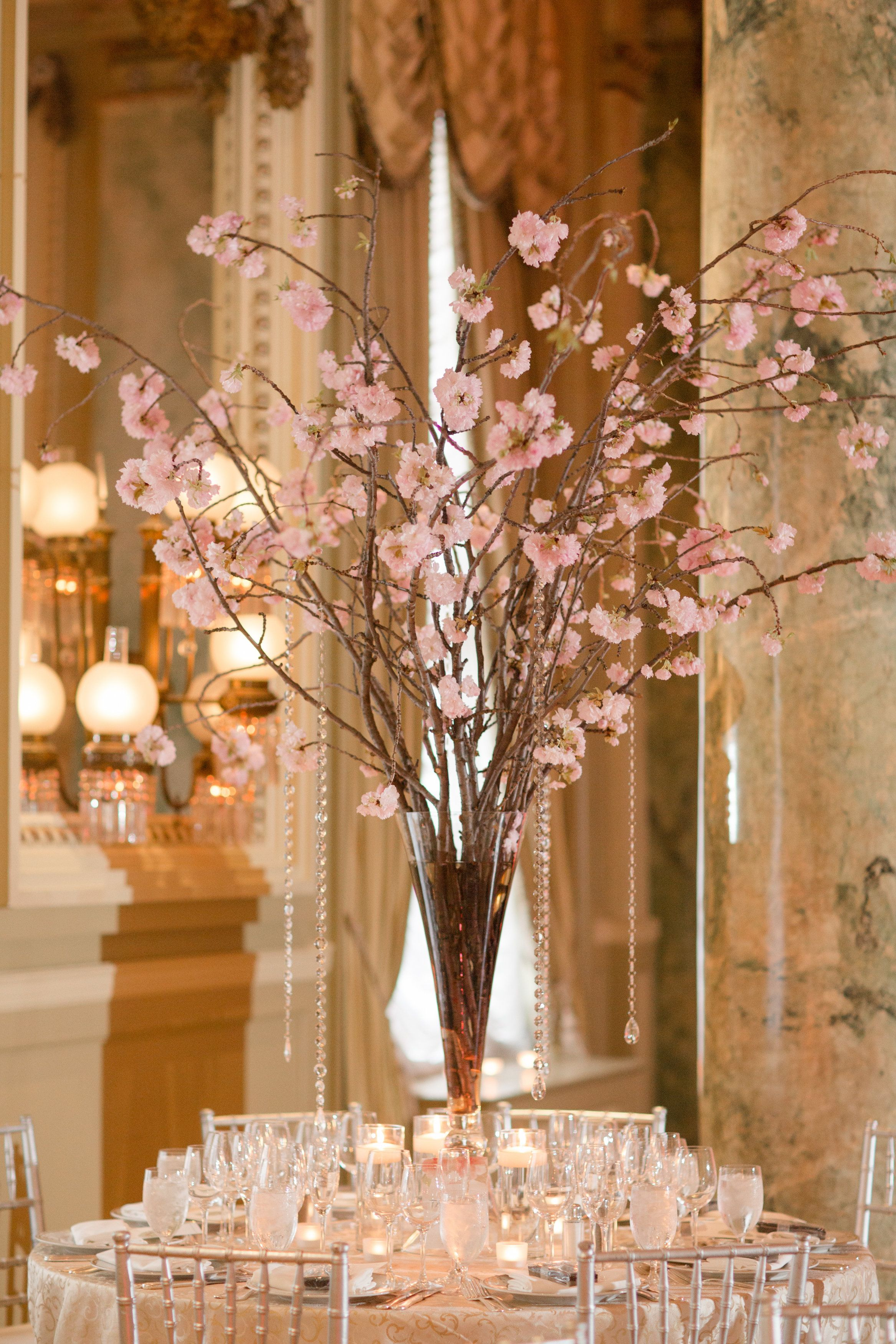 Cherry Blossoms are the perfect centerpiece for a #Willard #DC Weddi… | Cherry  blossom centerpiece, Branch centerpieces wedding, Cherry blossom wedding  centerpieces