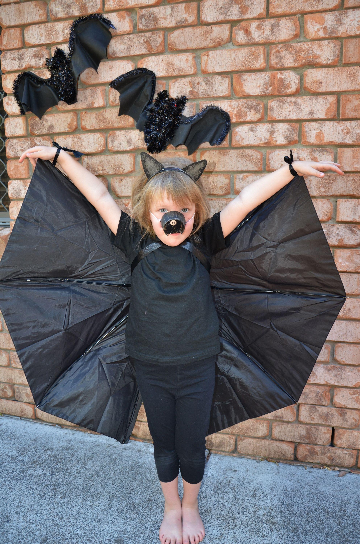 DIY Bat Wings made from an Umbrella No Sew! Halloween