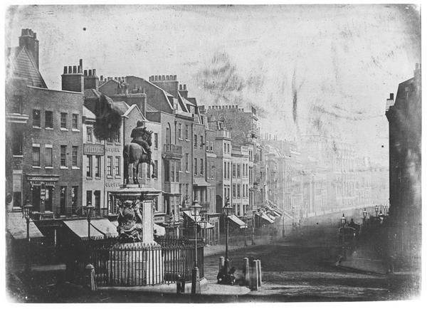 I give you one of the oldest photographs of #London - a daguerrotype of  Whitehall taken from Trafalgar Squa… | Historical london, Whitehall london,  Victorian london