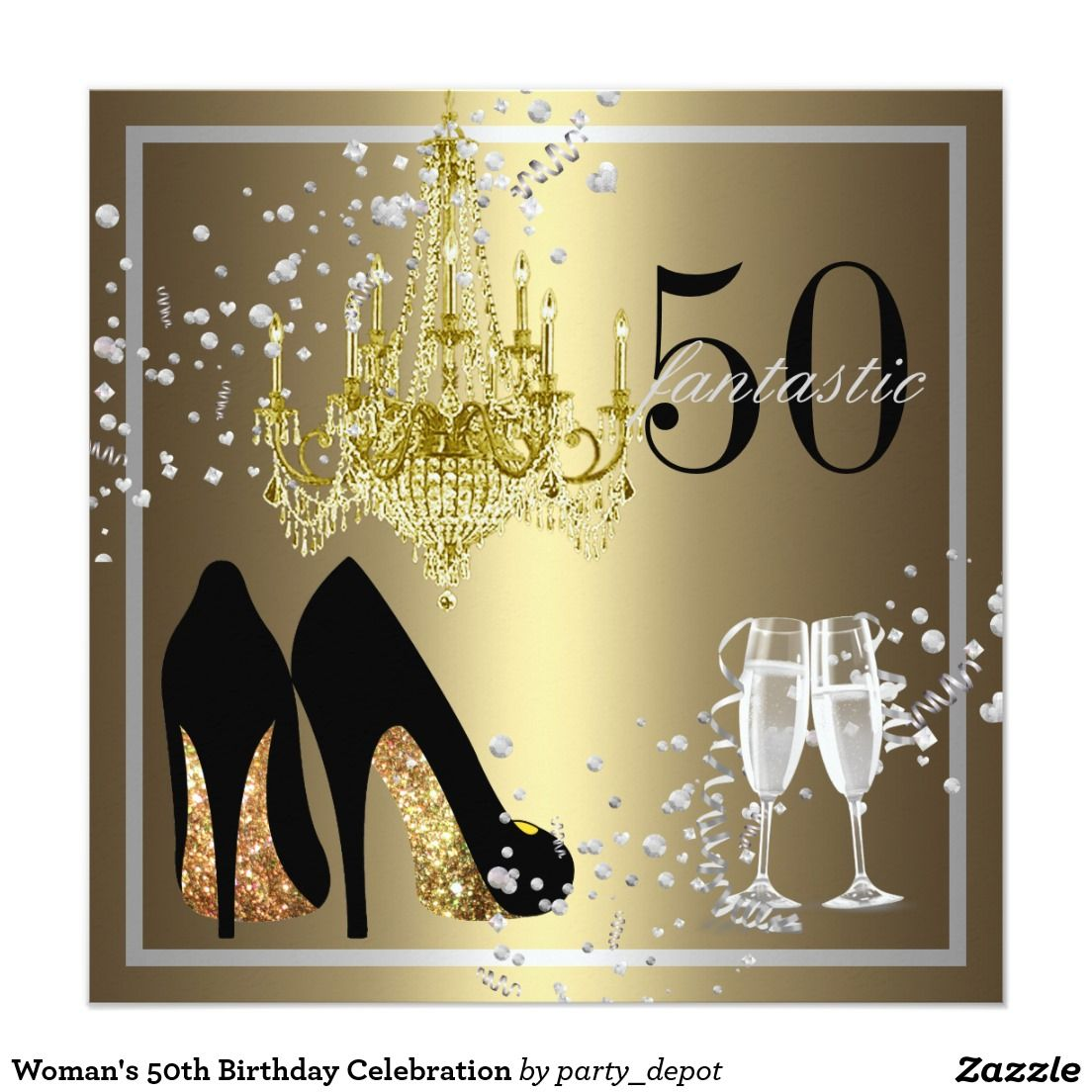 Invitación 50 A Celebración Del Cumpleaños De La Mujer