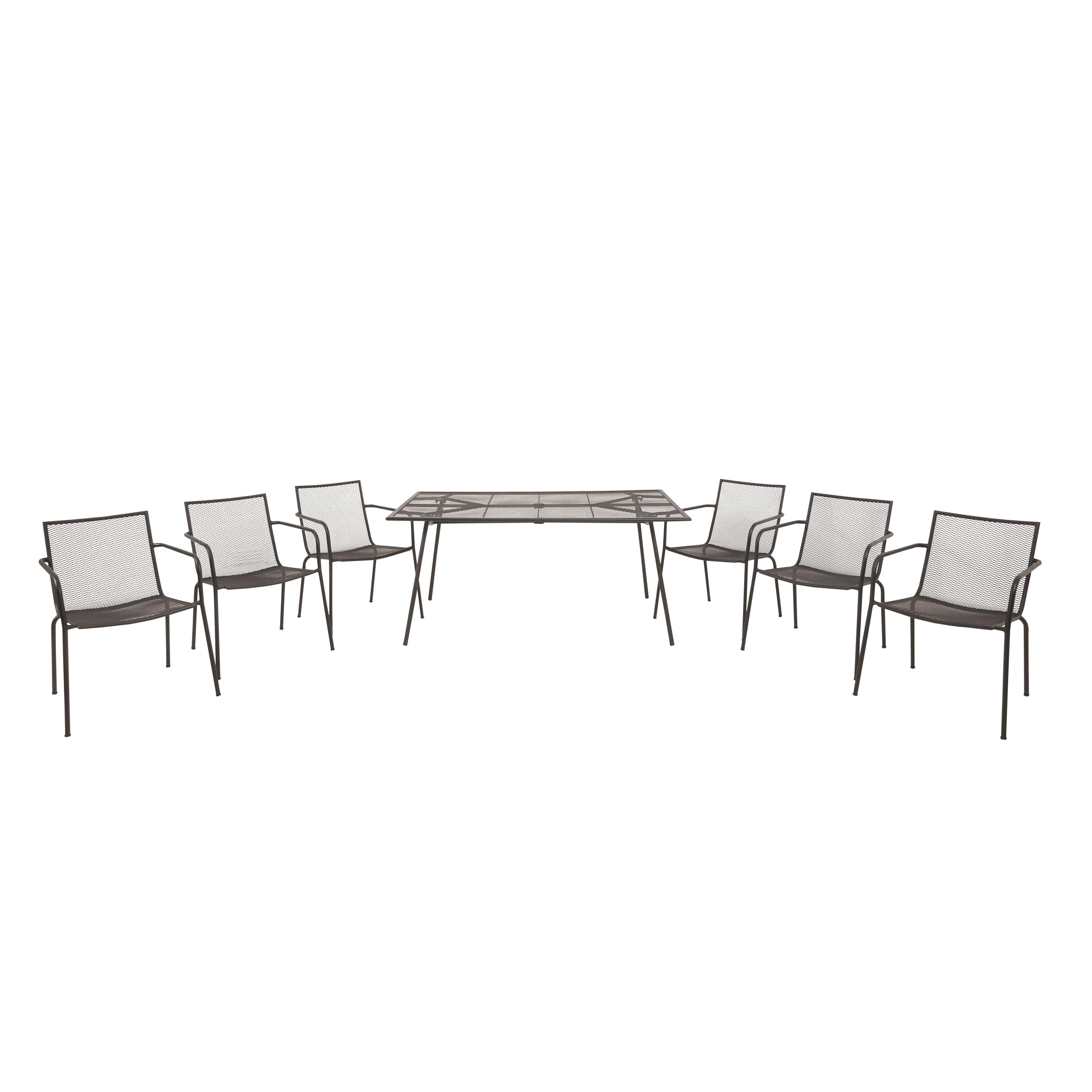 Adelaide Metal 6 Seater Dining Set Departments Diy At B Q