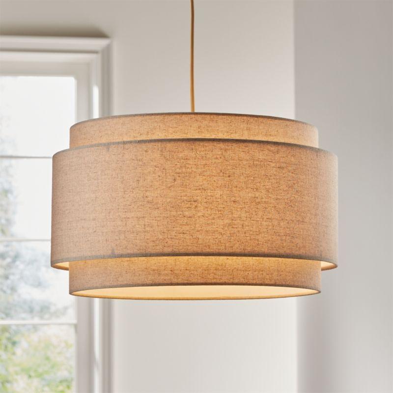 Avery Linen Double Drum Pendant Light in 2020 Pendant