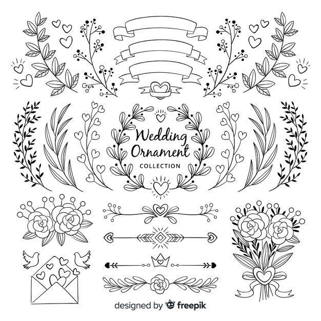 Download Hand Drawn Wedding Ornament Collection fo
