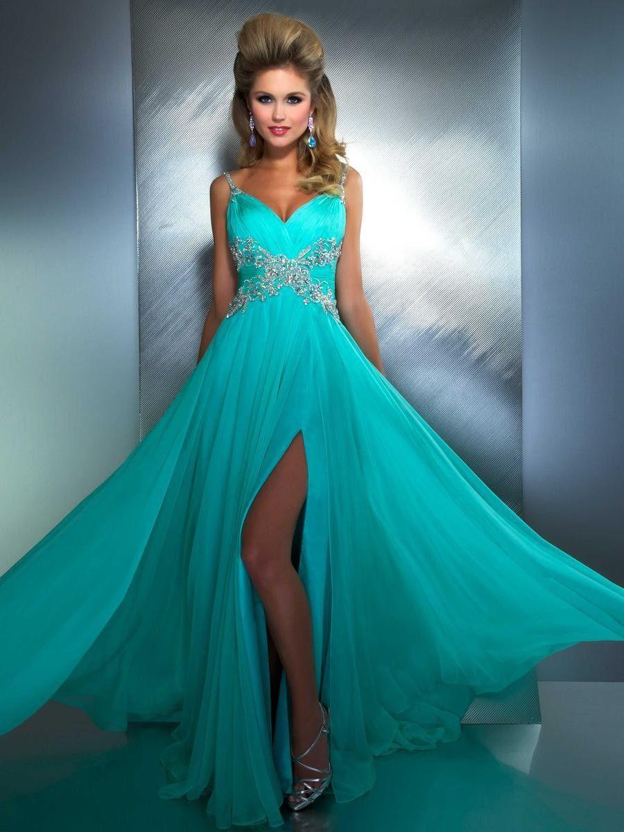 Vestidos de noche color azul turquesa - Vestidos De Noche