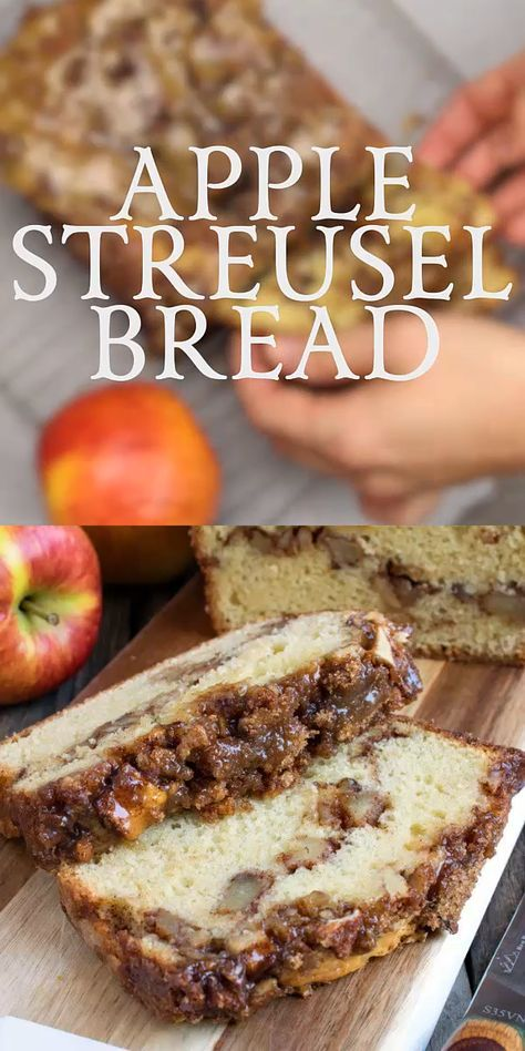 Apple Streusel Bread Our Apple Streusel Bread is a sweet cake-like bread with a layer of apple chunks and walnuts in middle and topped with a cinnamon streusel.