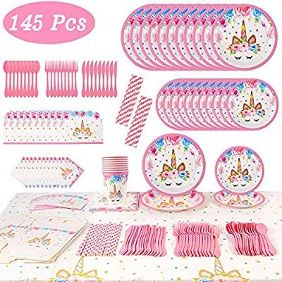 145Pcs Unicorn Party Supplies Birthday Bundle for Girls Complete Set Balloons...