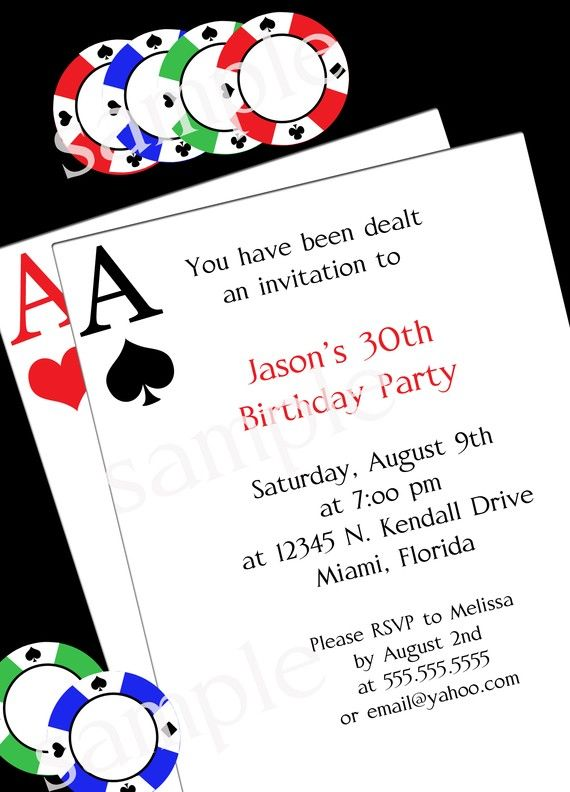 poker party invitation - diy printable party invitation - 4x6 or, Party invitations