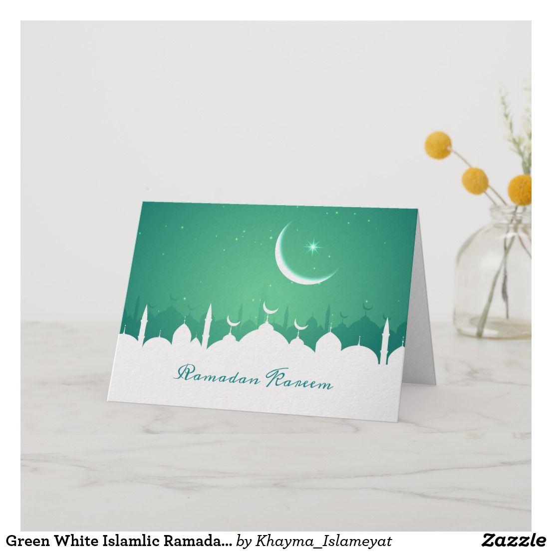 green white islamlic ramadan kareem greeting card  zazzle