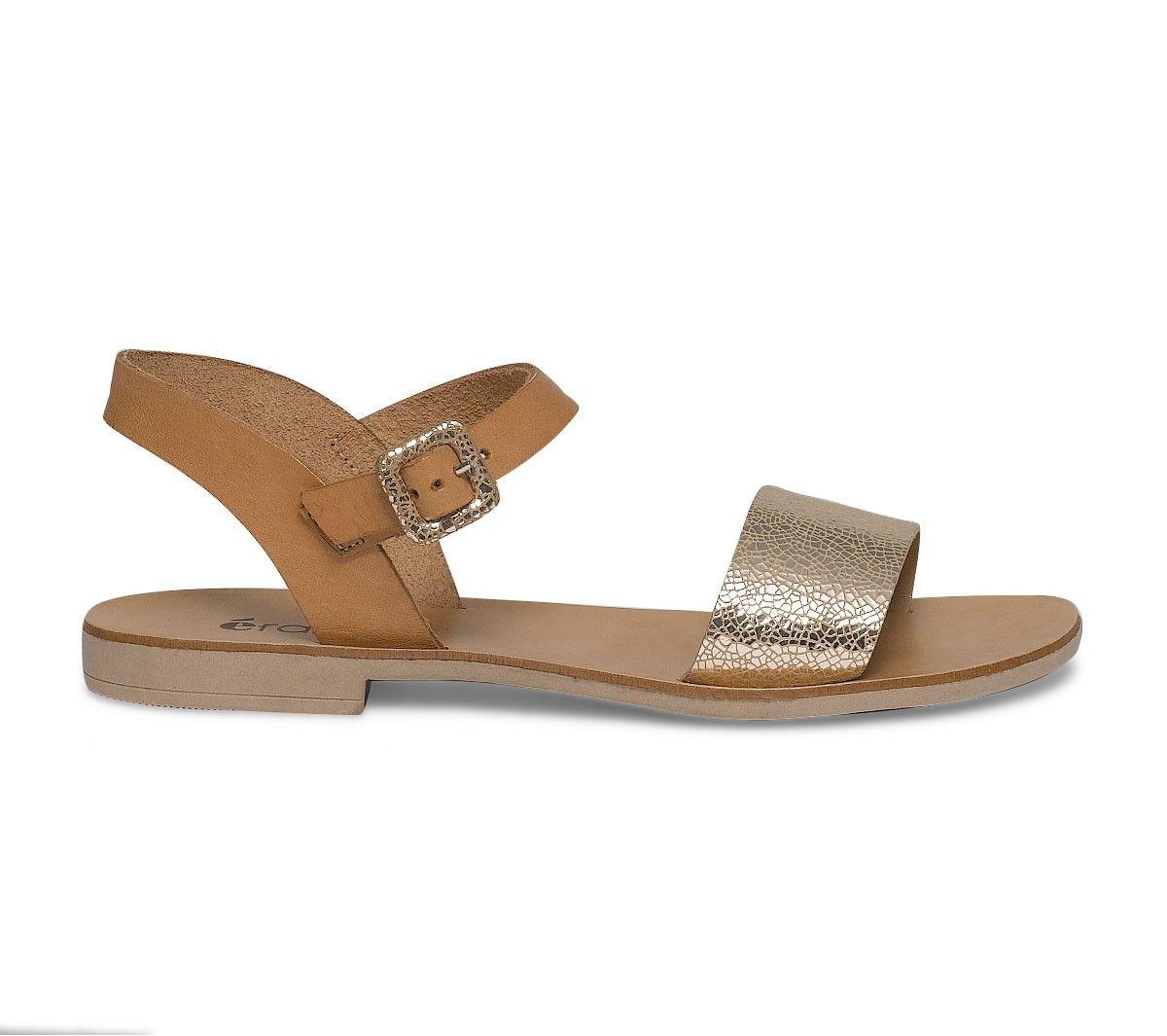 sandale plate cuir dorée et camel | shopping | pinterest