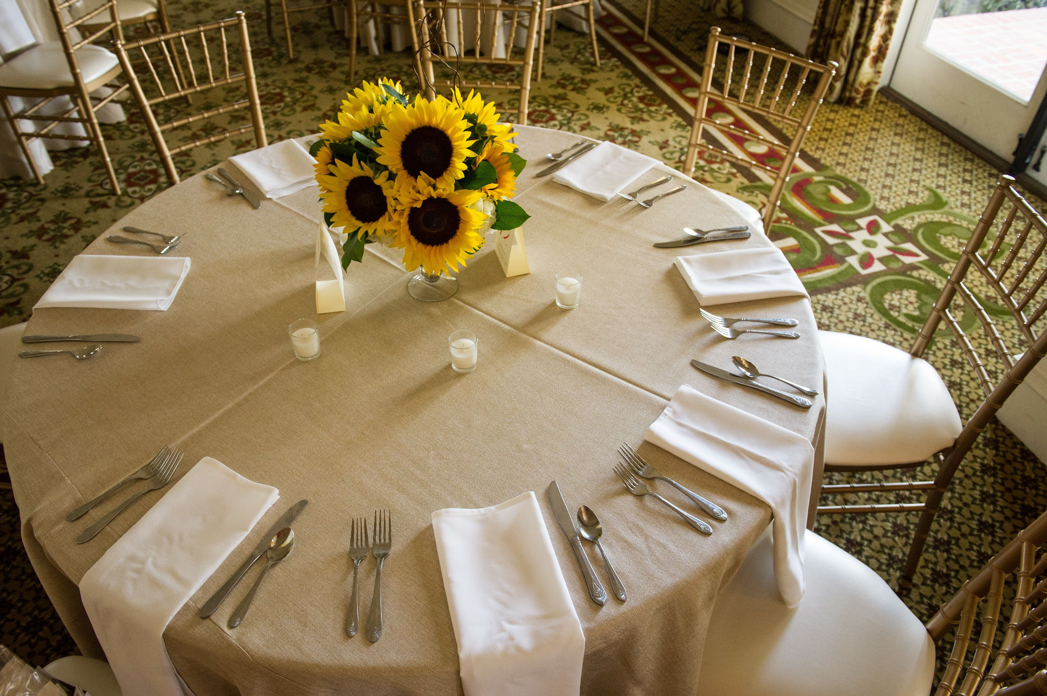 Low Rustic Sunflower Centerpieces