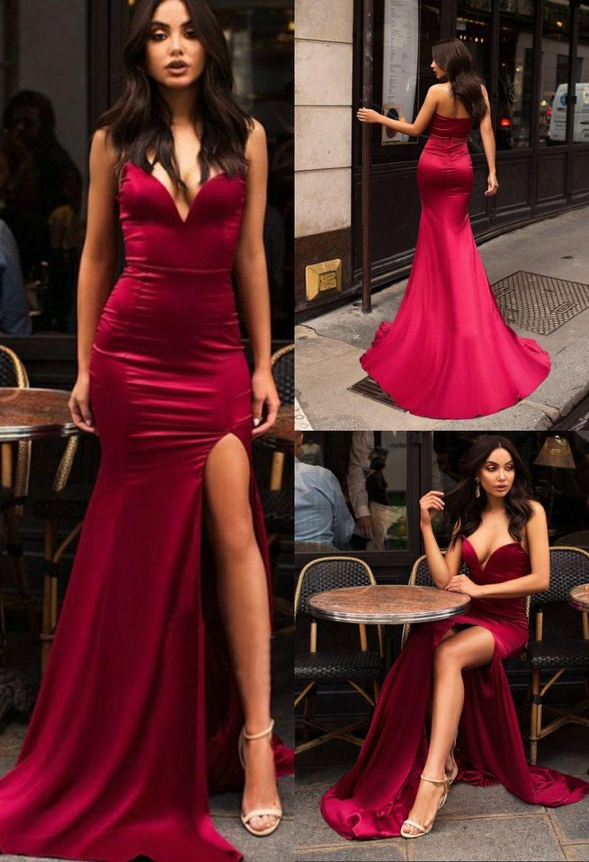 Amazing Long V-Neck Mermaid Prom Dress with Split Burgundy Evening Dress