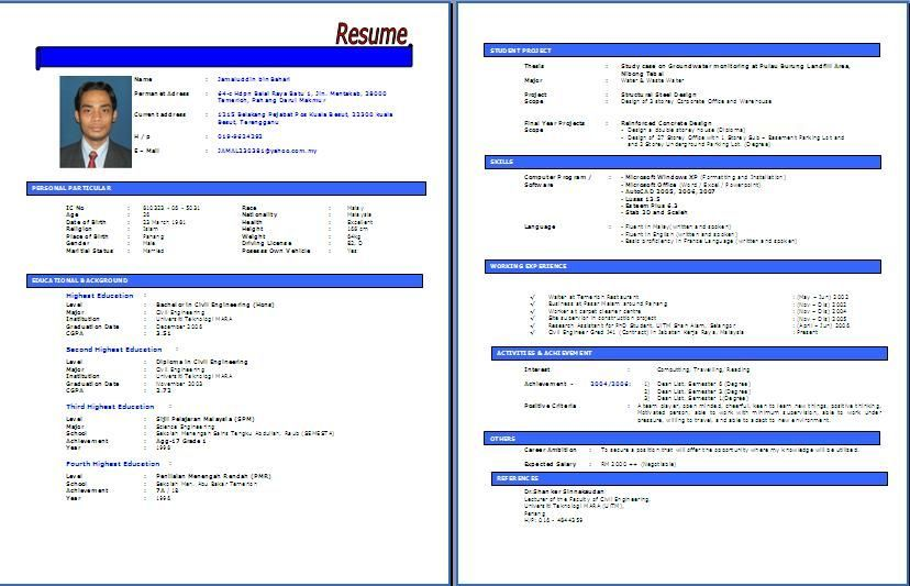 Resume format kerajaan resume templates resume pdf