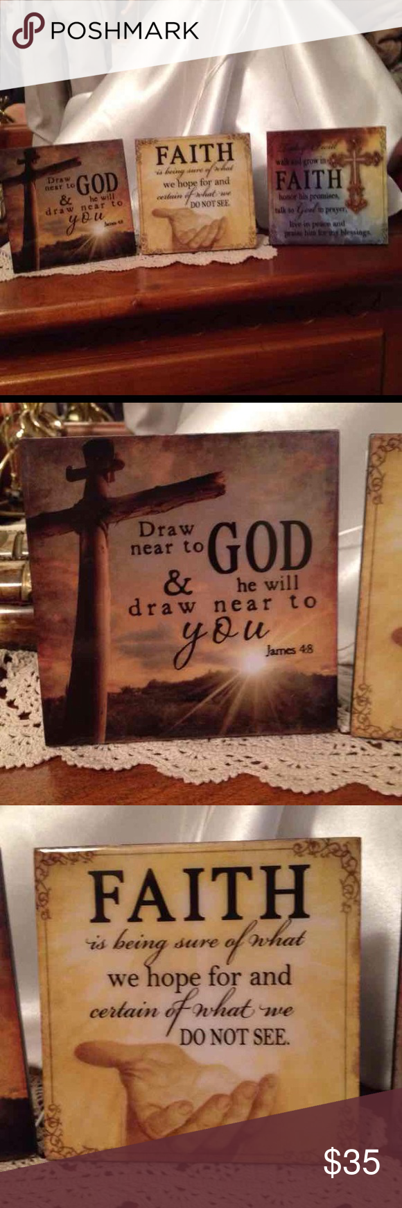 Biblical Christian Standup Plaques Set Of 3🎄🎁💒 Biblical Christian Standup Plaques Set Of 3 They are new with tag. Size 4 X 4. I shipped from a non-smoking home pet free. I ship within 24 to 48 hours Monday through Friday. If you have any questions please ask! You also may make me a offer! :)) Christian Dior Other