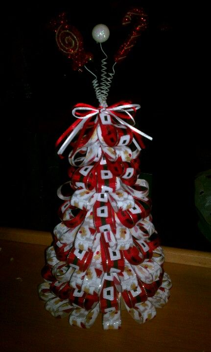 Ribbon Tree Made With Paper Mache Cone Paper Mache Christmas Cone Christmas Trees Christmas Crafts