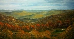 View from a Deerstand by Mike Phelps Oil ~ 12 x 24
