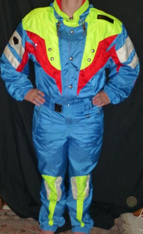 Descente One Piece Suit Mens Medium Neon Blue Retro Ski