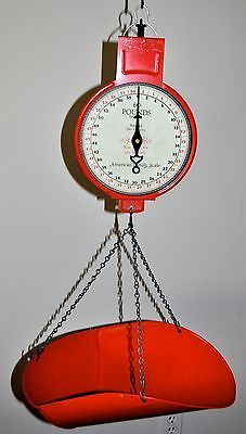 Vintage Red Produce Scale American Family Hanging Scale Scoop Bucket 60 Lb