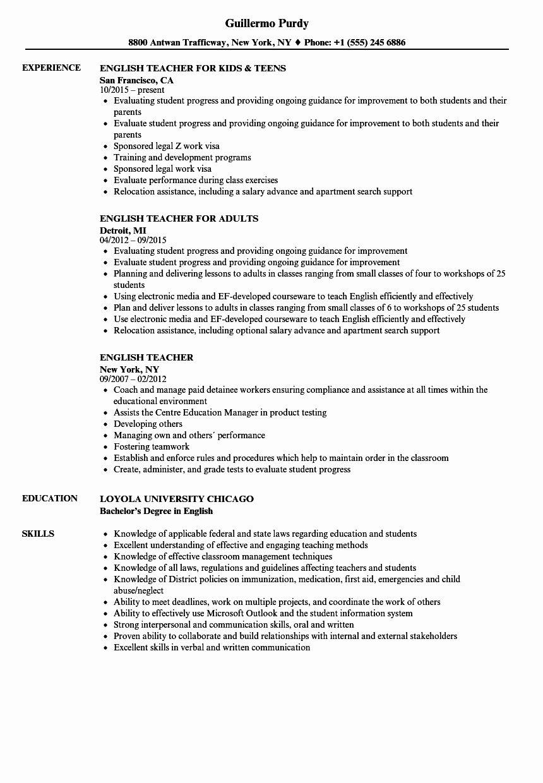 english teacher resume example template nanica in 2020