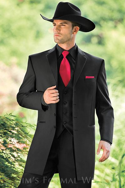 Andrew Fezza Savannah Longcoat Shown With A Black Shirt And Ferarri Red Accessories From Www Jimsfor Wedding Suits Men Western Formal Wear Black Suit Wedding