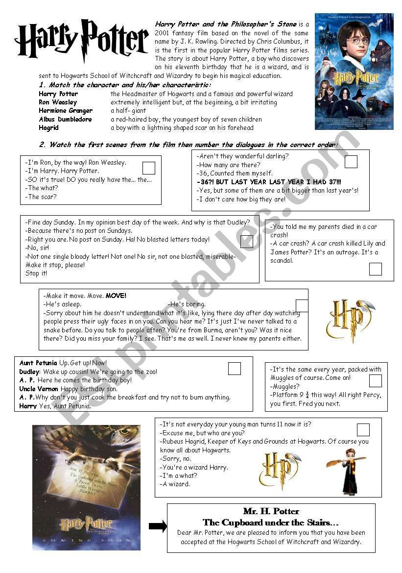 Some Info About The Film An Easy Activity About The Main Characters And Some Dialogues Harry Potter Classroom Harry Potter Activities Harry Potter Unit Study [ 1169 x 821 Pixel ]