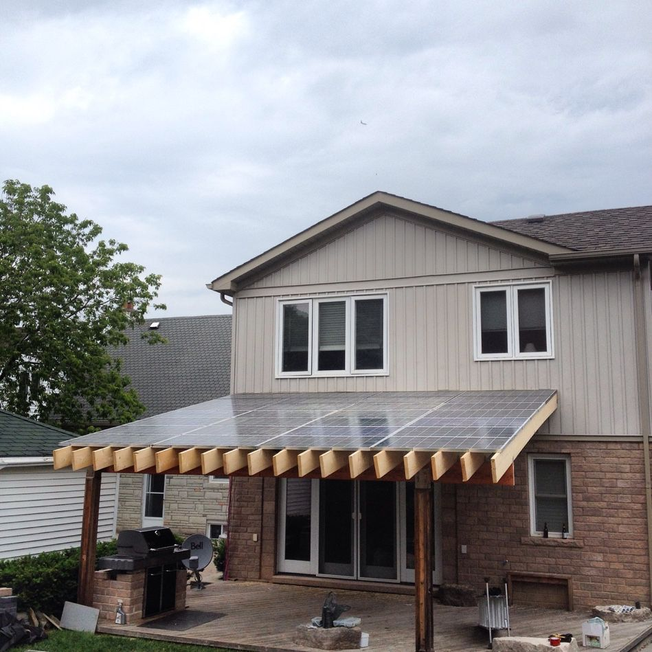 3.5kW #Off-Grid system installed on a custom-built pergola! Generating clean, #RenewableEnergy in #Etobicoke, ON