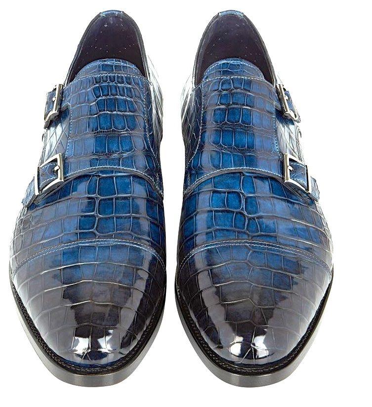 Santoni Carter Croc Monk Shoe - Look Truly Dapper With Croc Monk Shoes From  Santoni. Crafted From Genuine Crocodile Skin, Elevated On A Genuine Leather  Sole