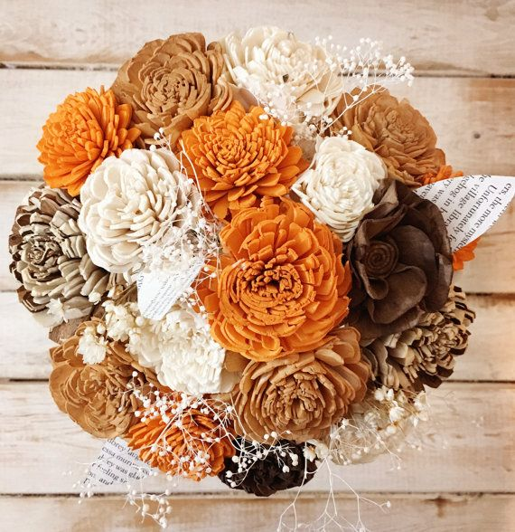 Pumpkin Spice Scented Wood Flower Bouquet Sola by NovelExpression ...