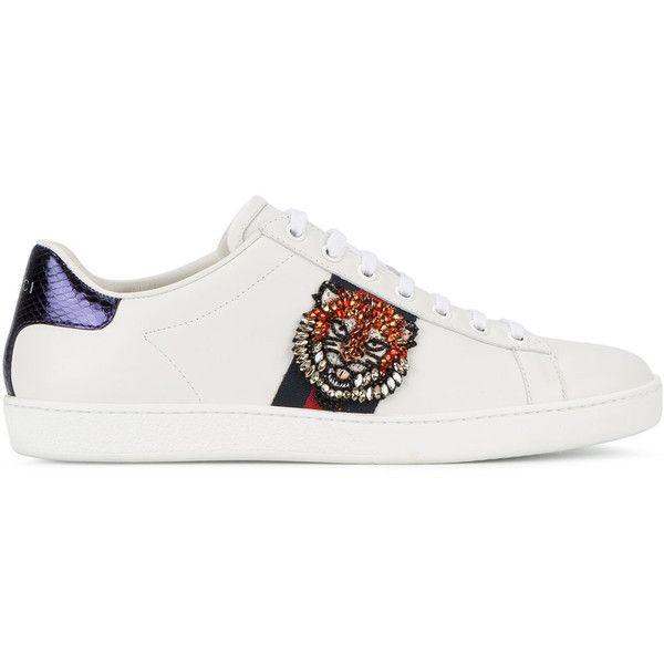 e47e8a3069 Gucci Ace tiger's head sneakers (5,930 GTQ) ❤ liked on Polyvore featuring  shoes, sneakers, white, animal trainer, white low top sneakers, gucci  sneakers, ...