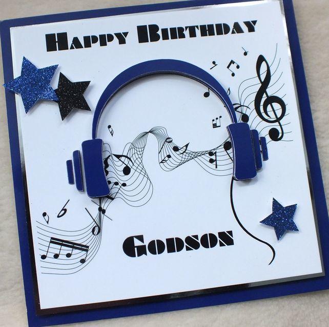 Handmade Godson 3D Music Headphones Birthday Card