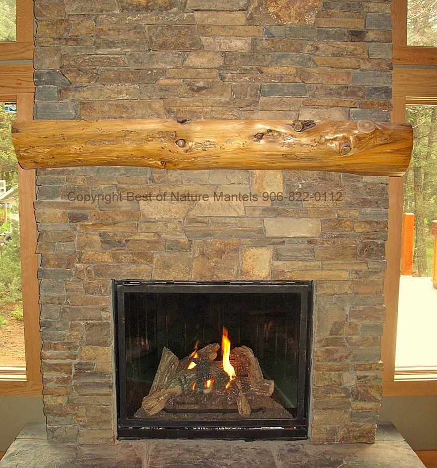 Gas Fireplaces Rustic Fireplace Log Mantel