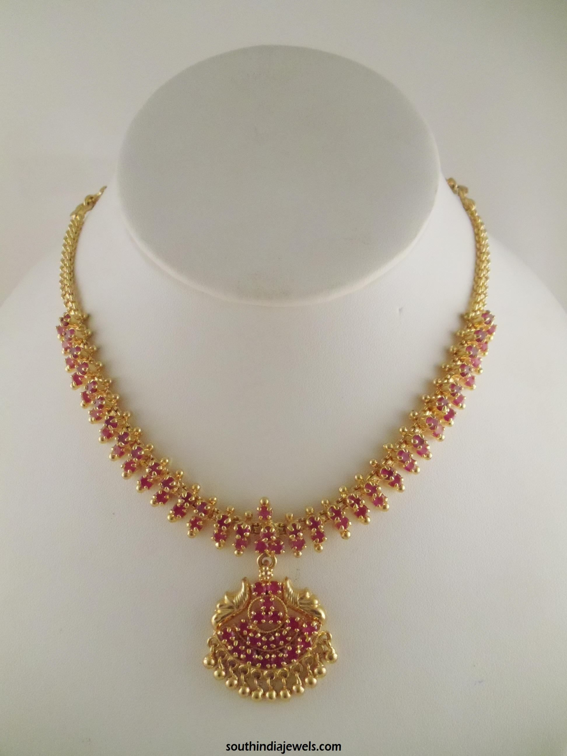 1 Gram Gold Ruby Necklace Design | Necklace designs, Indian jewelry ...