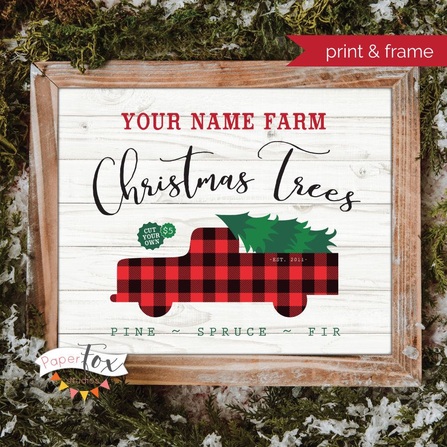 Christmas Tree Farm Southern California: Personalized Christmas Tree Farm Sign Featuring Your Last