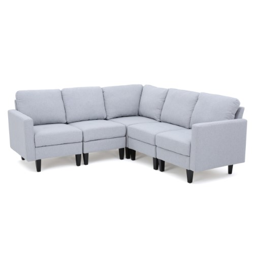 Terrific Carolina Fabric Sectional Couch Light Grey Products Theyellowbook Wood Chair Design Ideas Theyellowbookinfo