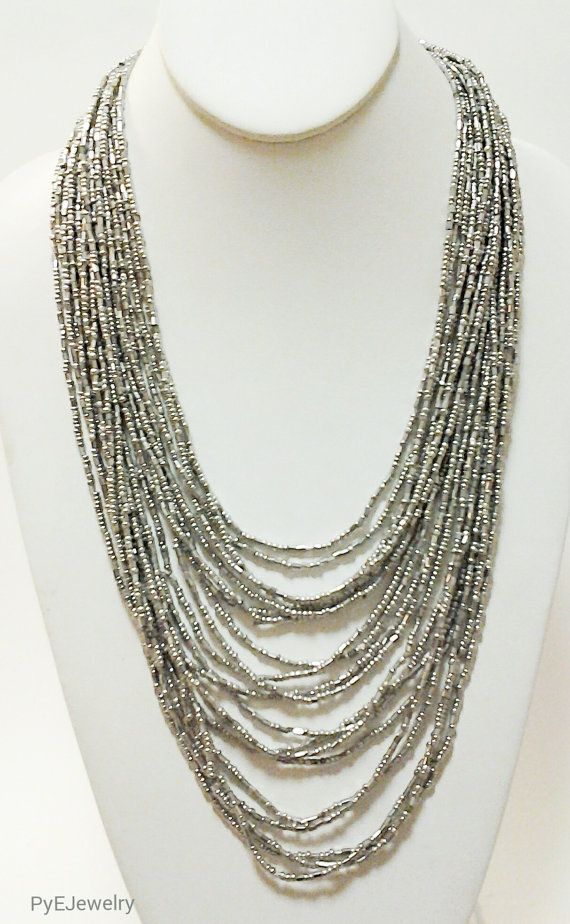 Silver Multi Strand Beaded Necklace / Long Necklace. by PyEJewelry