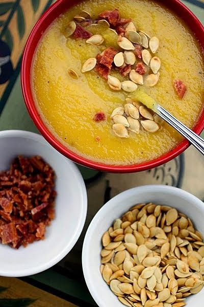 The Cooking Photographer: Acorn Squash Soup with Bacon & Squash Seeds