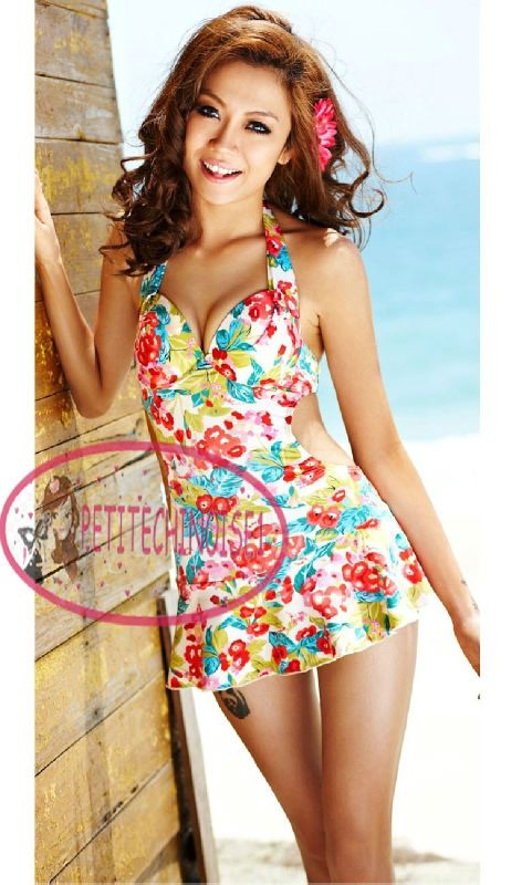 e2cf44261d monokini with underwire | Vintage Floral Open Back Monokini Swim Dress  Swimsuit Bathing Suit .
