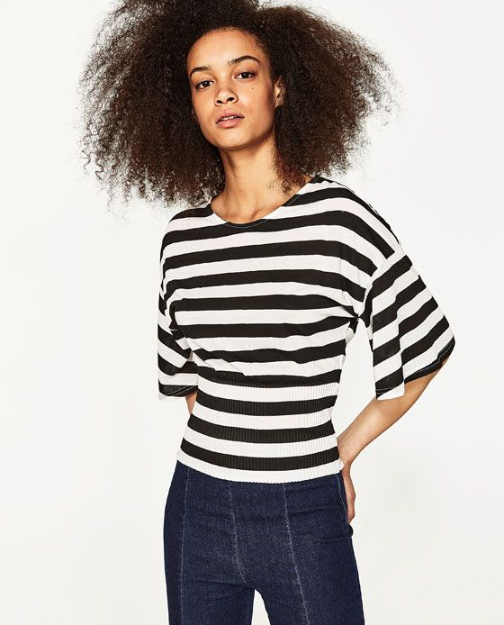 Image 1 of T SHIRT WITH PLEATED SASH BELT from Zara | tops