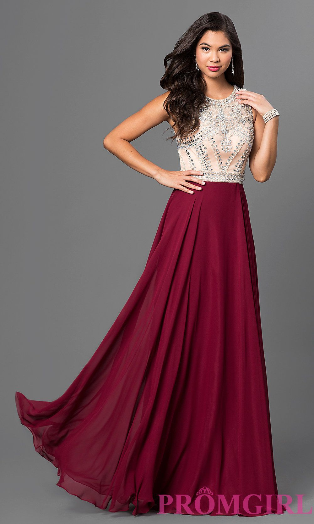Long Burgundy Red Prom Dress with Beaded Bodice FANCY