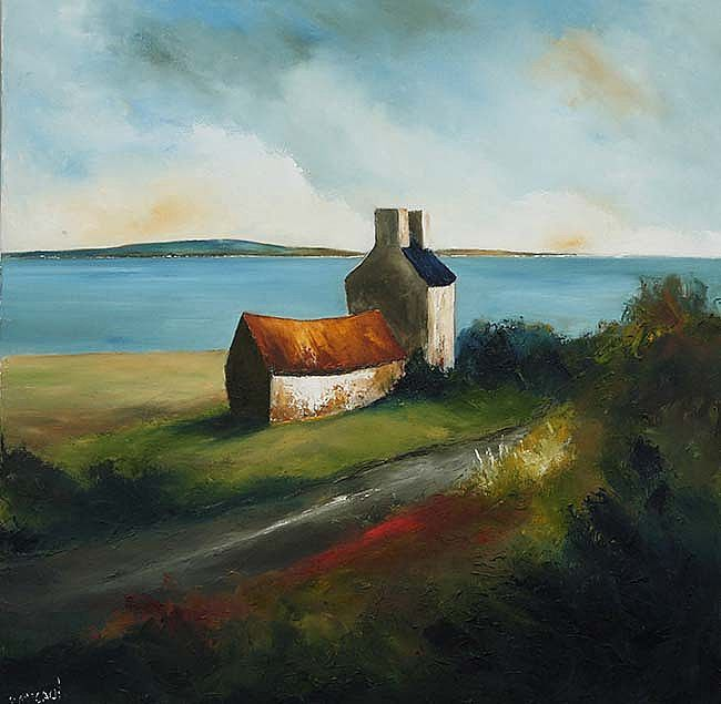 Atlantic Farmhouse By Padraig Mccaul Irish Art Gallery Showing Works By Artists Bob Lynn Lucy Doyle Michael Flaherty Shan Irish Art Art Landscape Paintings