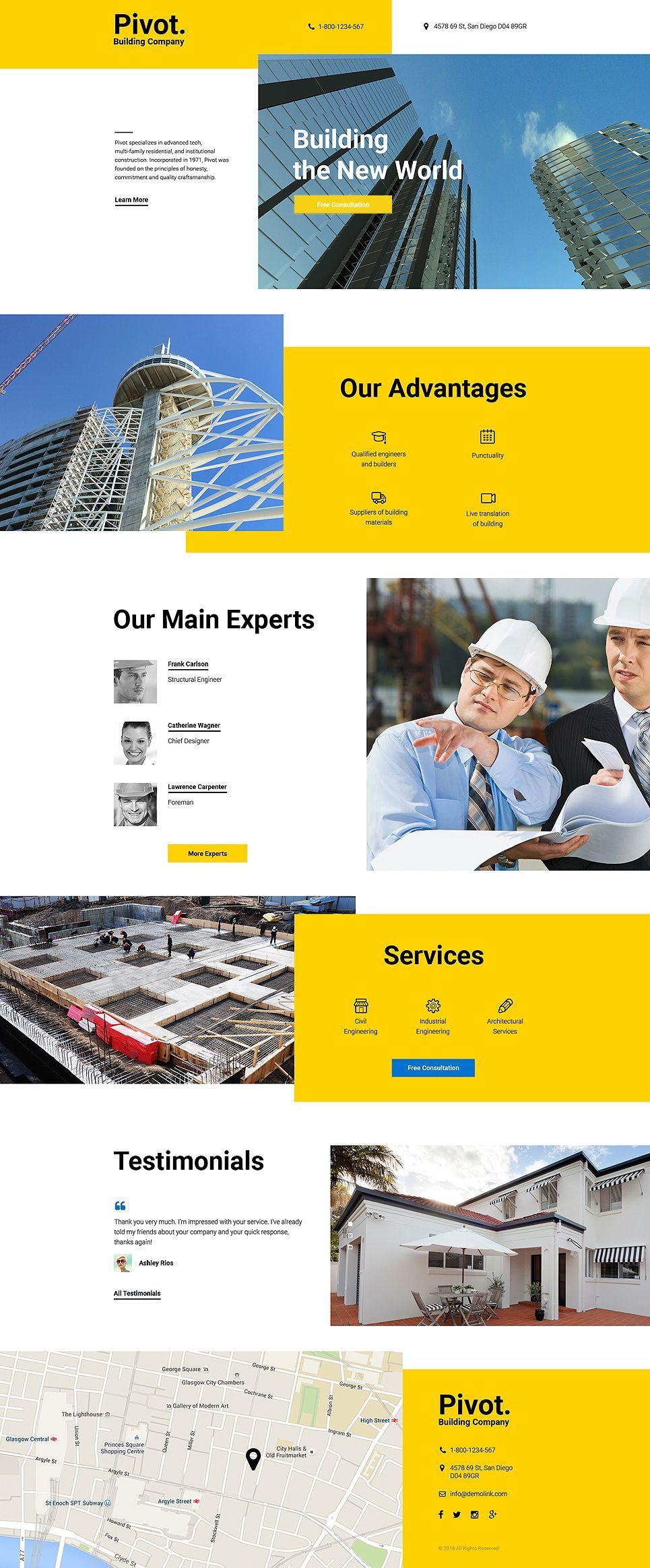 Pivot Construction Company Clean Html Landing Page Template