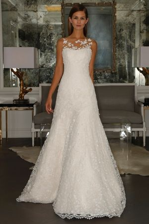 Illusion A Line Wedding Dress In Beaded Lace. Bridal Gown Style  Number:33126129