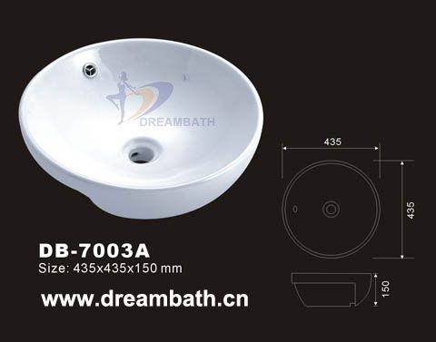 Product Name: Semi Recessed Basin   Model No.: DB-7003A  Dimension: 435X435X150mm  (1 inch = 25.4 mm)  Volume: 0.041CBM  Gross Weight: 8KGS  (1 KG ≈ 2.2 LBS) Sink shape: Round