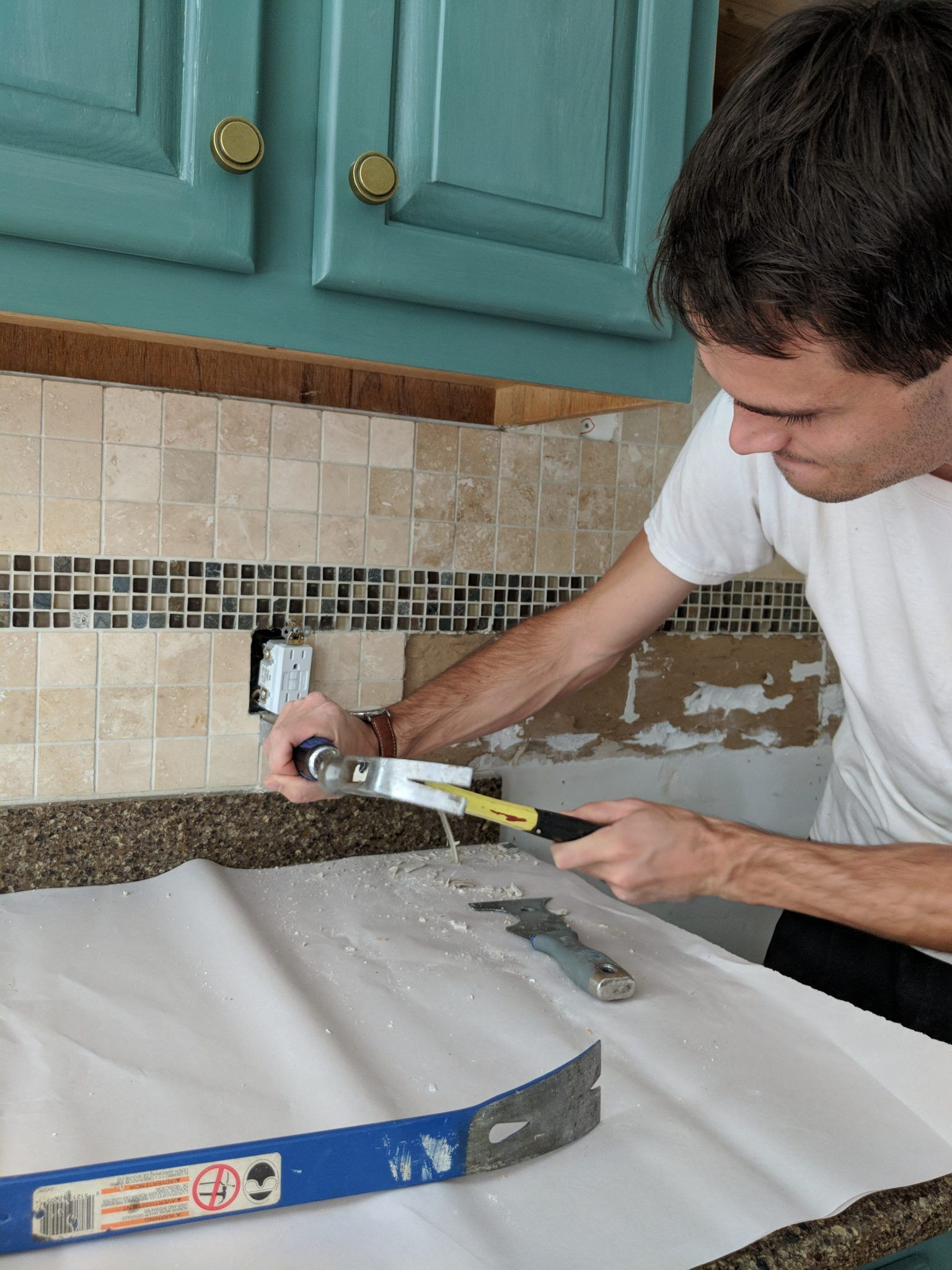 - Removing A Tiled Backsplash + Prepping Walls For New Tiles