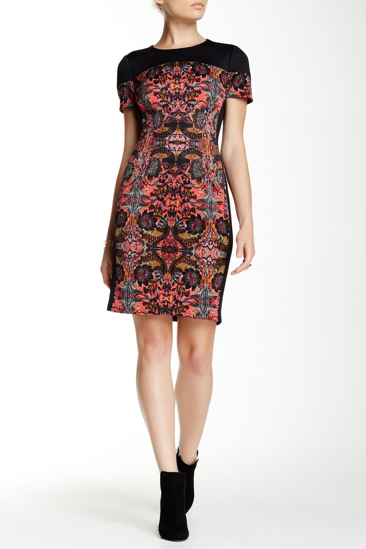 Maggy London   Short Sleeve Printed Scuba Sheath Dress   Nordstrom ...