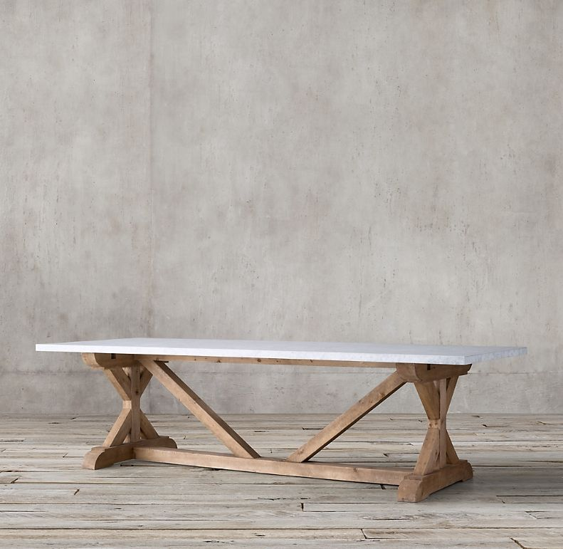 Salvaged Wood Marble X Base Rectangular Dining Table Slab Dining Tables Dining Table Rectangular Dining Table