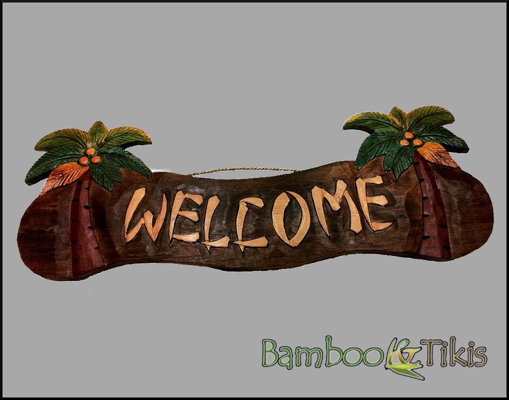 Palm Tree Tiki Bar Welcome Sign