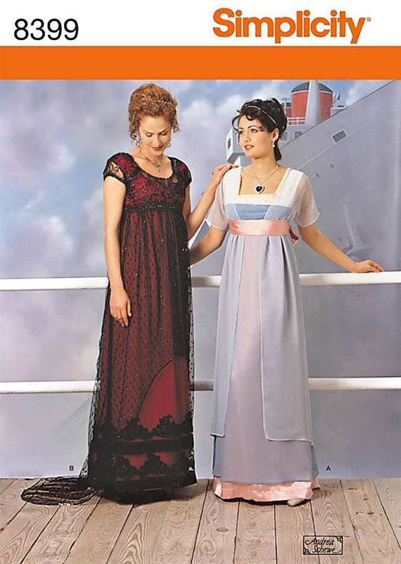 Simplicity 8399 Titanic Dress Edwardian Downton Abbey 1910-1917 Size ...