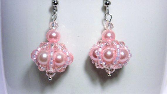 Pink Pearl Earrings, Pearl Earrings, Ladies Earrings ...